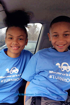 """Kids T-shirts say """"When your car is in P, TURNitOFF!"""