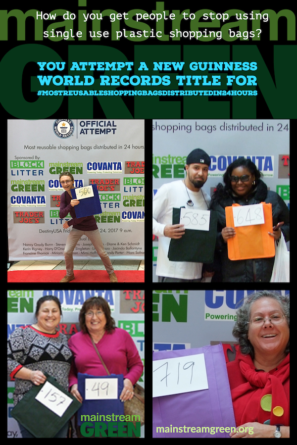 Shoppers had a ball posing on the red carpet with the roomy new reusable shopping bags they received at Mainstream Green's Guinness World Records title attempt for #MostReusableShoppingBagsDistributedIn24Hours, Nov. 24, 2017, Syracuse, NY