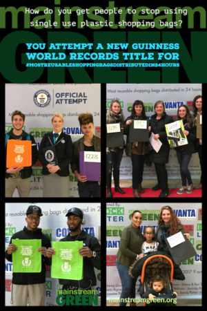 Shoppers rock the red carpet with roomy reusable shopping bags given out by Mainstream Green Inc. at its Guinness World Records title attempt #MostReusableShoppingBagsDistributedIn24Hours, Syracuse, NY