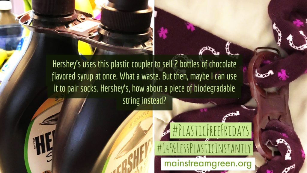 Hershey's please use biodegradable string to couple your syrup bottles for bulk purchase