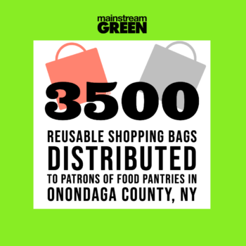 Mainstream Green distributed 3500 reusable bags to patrons of food pantries in Onondaga County NY