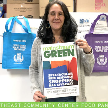 Syracuse's NE Community Center Food Pantry received reusable bags from Mainstream Green