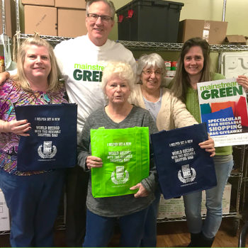 Mainstream Green Board Member Steven Williams with reusable bags for food pantry in Cicero, NY