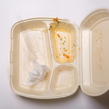 Disposable polystyrene plastic food containers are widespread pollutants