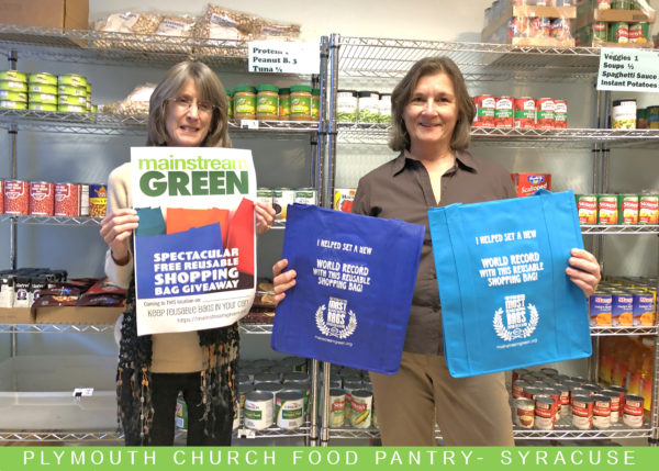 Patrons of Syracuse's Plymouth Church Food Pantry received donations of reusable shopping bags from Mainstream Green